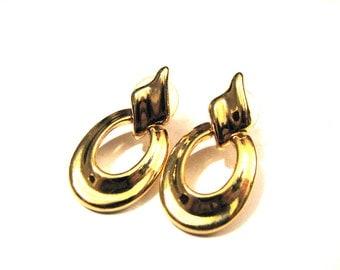 Vintage Avon Gold Tone Convertible Door Knocker Dangle Hoop Pierced Earrings