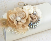 Wedding Clutch, Handbag, Mother of the Bride, Purse, Ivory, Tan, Beige, Champagne, Cream, Brooch,Crystals, Feathers, Pearls, Elegant