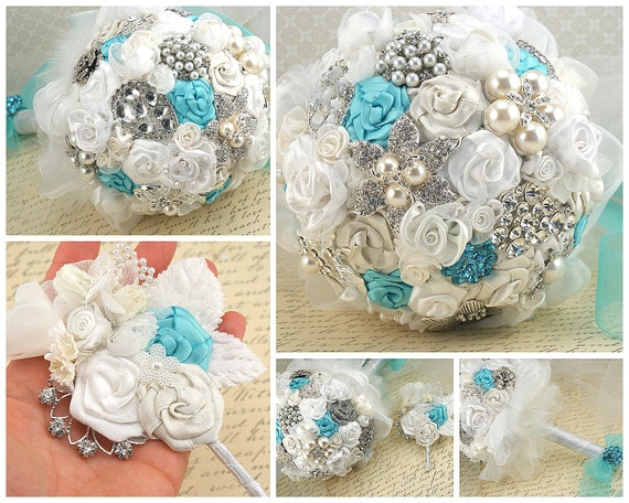 Брошь букет Свадебный букет Свадебный букет из слоновой кости, Tiffany голубой и белый