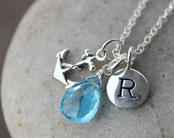December Blue Topaz Initial Necklace - Anchor Charm - Sterling Silver