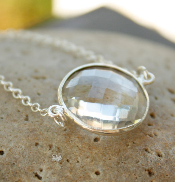 Crystal Quartz Bridal Necklace - Bridesmaids Necklace - Sterling Silver, Silver Crystal Jewelry