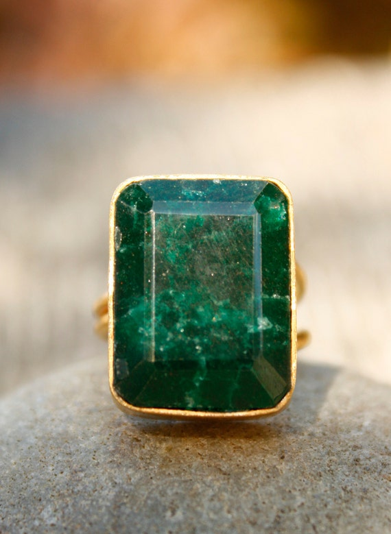 Gold Green Emerald Ring - Rectangular Cut - Bold Ring