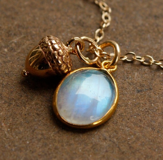 Rainbow Moonstone and Acorn Charm Necklace - 14KT Gold Fill - Whimsical, Autumn Themed