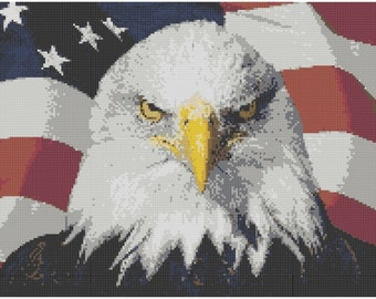 American Eagle Cross Stitch Printed Pattern