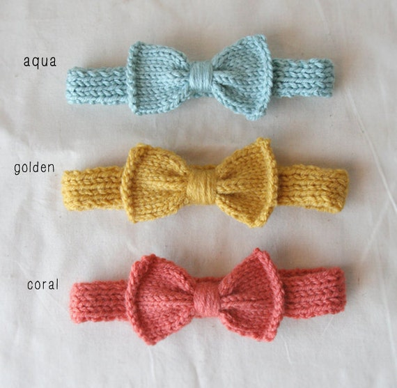 KNIT - For Baby - Bow Headband (One) - choose size & color
