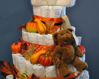 Four-tier diaper Autumn themed diaper cake with teddy bears
