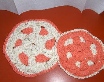 Handmade Tangerine and Ecru Crocheted Hot Pads set of 2