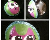 Hand painted Purple and Green Owl Ornament