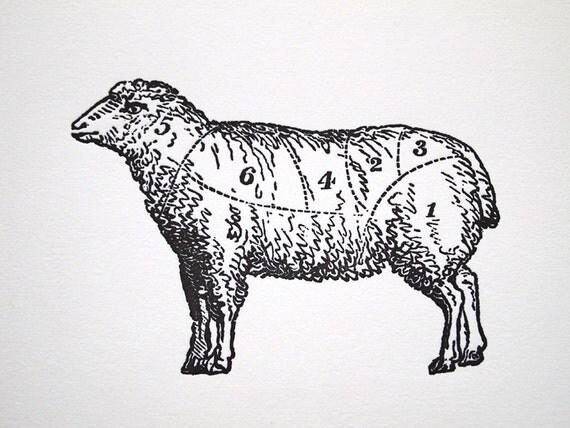 Letterpress Art Print L'agneau 8x10 - Lamb Meat Cuts Chart - Antique Sheep Diagram