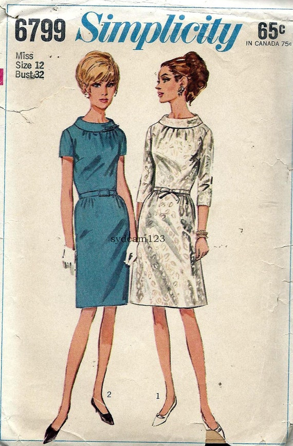 Vintage 1966 A Line or Slim Skirt Dress Rolled Collar...Sleeve Variation...Simplicity 6799 Bust 32