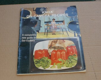 Vintage 1960 Knox On-Camera Recipes-A Completely New Guide to Gel Cookery - Illustrated Cookbook
