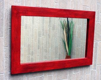 Framed Mirror, Antique Red Finish, 25 x 39 - Handmade