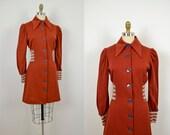 1970s dress / 70s knit sweater mini dress / Burnt Sienna NOS