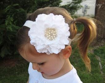 White Flower Headband, Flower w/ Pearl & Crystal Center Headband or Hair Clip, The Eva, Baptism, Christening, Baby Child Girls Headband