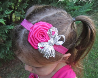 Hot Pink Flower Headband - Hot Pink Satin Rose w/ Large Clear Rhinestone Crystal Bow Stretchy Headband - Baby Toddler Child Girls Headband
