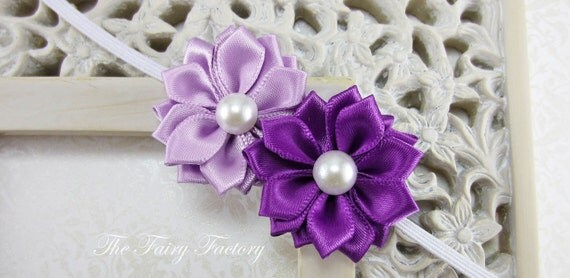 Satin Flower Headband - Lavender and Purple Flower Duo with Pearls Stretchy Headband - The Emily - Baby Toddler Girl