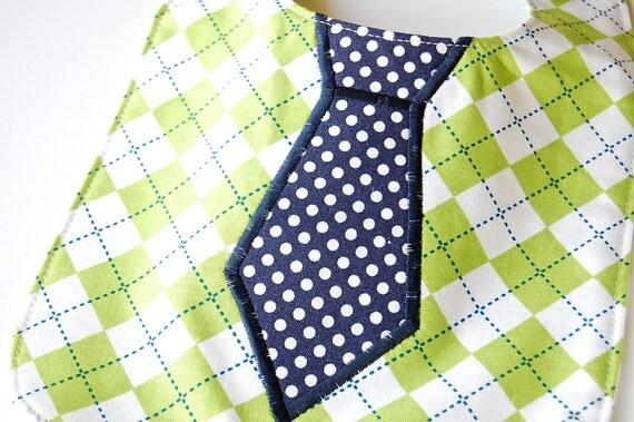 Ready to Ship Baby Set - Argyle Baby Boy Navy Polka Dot Tie Bib and Burp Cloth