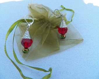 Silver Red Green Christmas Earrings