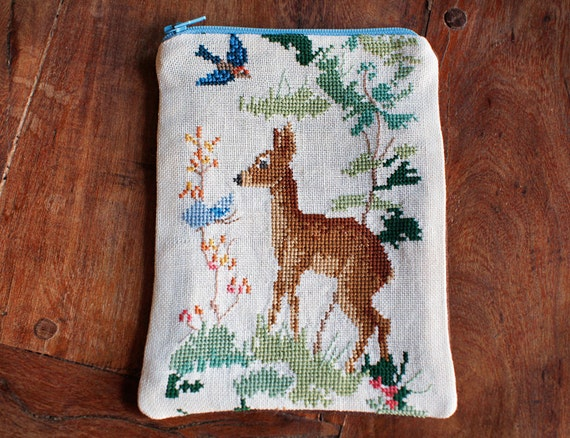 Deer pouch from vintage embroidered linen