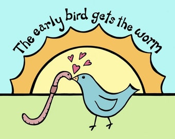 Blue Bird Kissing Pink Earthworm in the Morning Sun - 8 x 10 Art Print - The Early Bird Gets the Worm Kids Decor Love