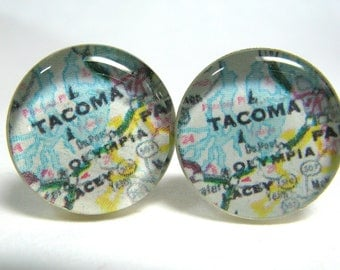Vintage map cufflinks - Tacoma and Olympia 1980s  - silver-plated round