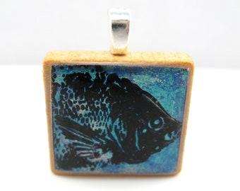 Something Fishy - Glowing metallic Scrabble tile pendant - blue