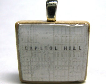 Capitol Hill in Seattle - 1924 vintage Scrabble tile map pendant