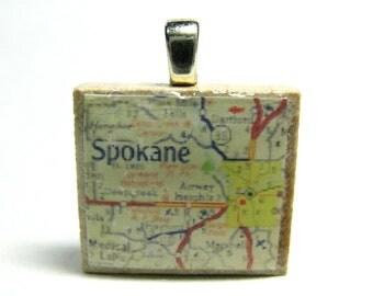 Spokane, Washington - 1962 vintage Scrabble tile map pendant