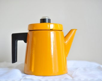 Enamel Coffee Pot Finel Yellow Coffee Pot Antti Nurmesniemi Percolator Mustard Yellow Pehtoori Antti Arabia Mid Century Kitchen Enamelware