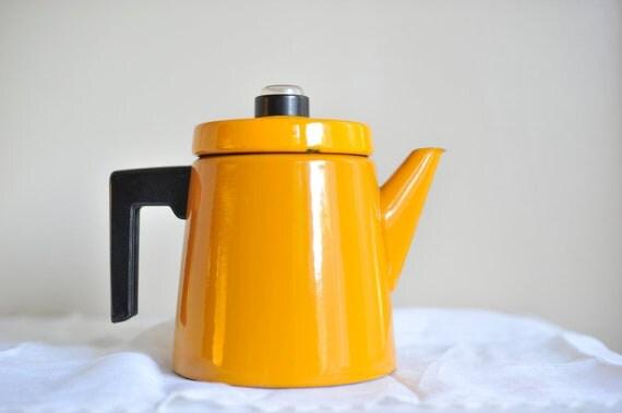Enamel Coffee Pot Finel Yellow Coffee Pot Antti Nurmesniemi Percolator Mustard Yellow Pehtoori Antti Arabia Mid Century Kitchen Enamelware