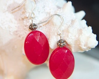 Earrings - Fabulous, faceted Raspberry Quartz ovals with silver Bali beads