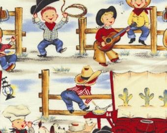 Michael Miller Lil Cowpokes Retro Cowboy Western Fabric, yards