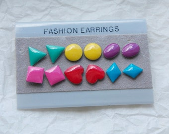 6 PAIRS of 1980S EARRINGS //  New Old Stock