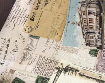 Vintage style Post Card Illus on linen blended 140cm, U6030