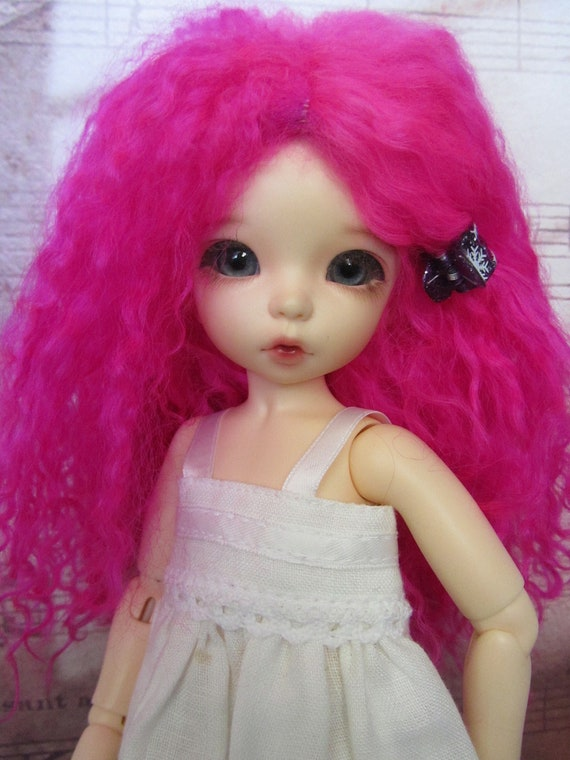 Bright Fuschia Pink mohair wig for Littlefee / other YoSD sized / Enyo / Unoa doll