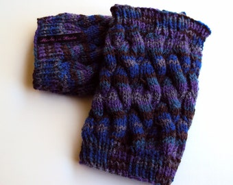 Boot Cuff/Boot Sock/Leg Warmer - Knitted in Blue, Brown and Purple