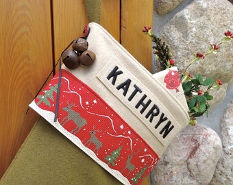 Personalized Reindeer Christmas Stocking Olive Wool