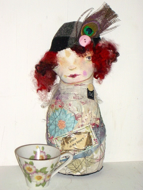 Fabric Art Doll Lotte- Cloth Doll - Painted Doll- Applique- Mixed Media- Rag doll- Stump Doll