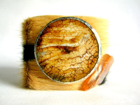 40% OFF clearance sale - zebra print hair on hide with round agate and heat treated crystal quarts - size 2
