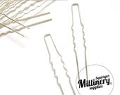 10 Silver Plated Metal Hair Pins for Bridal Hair Pieces and Fascinators