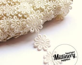Ivory Guipure Lace Daisy Flower Embroidered Trim, 1m