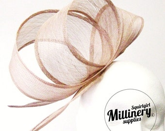Latte Brown Wide Sinamay Ribbon Sash for Millinery, Hat Trimming & Fascinators