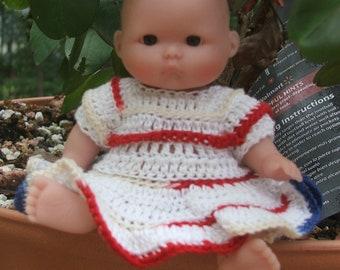 "Crocheted White dress fits 5"" baby dolls"