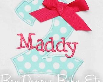 Girls Personalized Birthday Shirt, Birthday Number Shirt, Birthday Girft, Custom Fabrics, Colors, and Font, Girls Birthday Shirt
