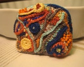 SUMMER SALE Crochet and Beads Brooch Blue Orange Yellow Turquoise Brown