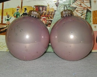 Beautiful Light Pink Vintage West German Glass Christmas Ornaments