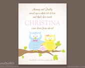 Girl's Personalized Owl Family Print Birth Announcement Nursery Wall Art - 8x10 Print