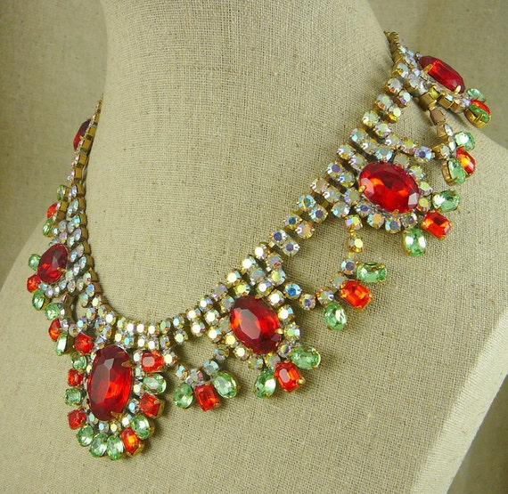 RESERVED FOR FAR... Fabulous Red and Green Peridot Czech Swarovski Ab Rhinestone Necklace