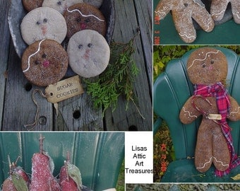 Snowman, Gingerbread Man, Christmas Trees, and Pears Craft E Patterns - Set of five primitive folk art Christmas Winter patterns