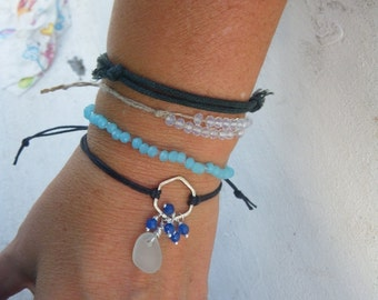 Sea Glass Stackable Bracelet with Amalfi Sea Glass, agate blue beads and sterling silver - Adjustable - recycle reuse